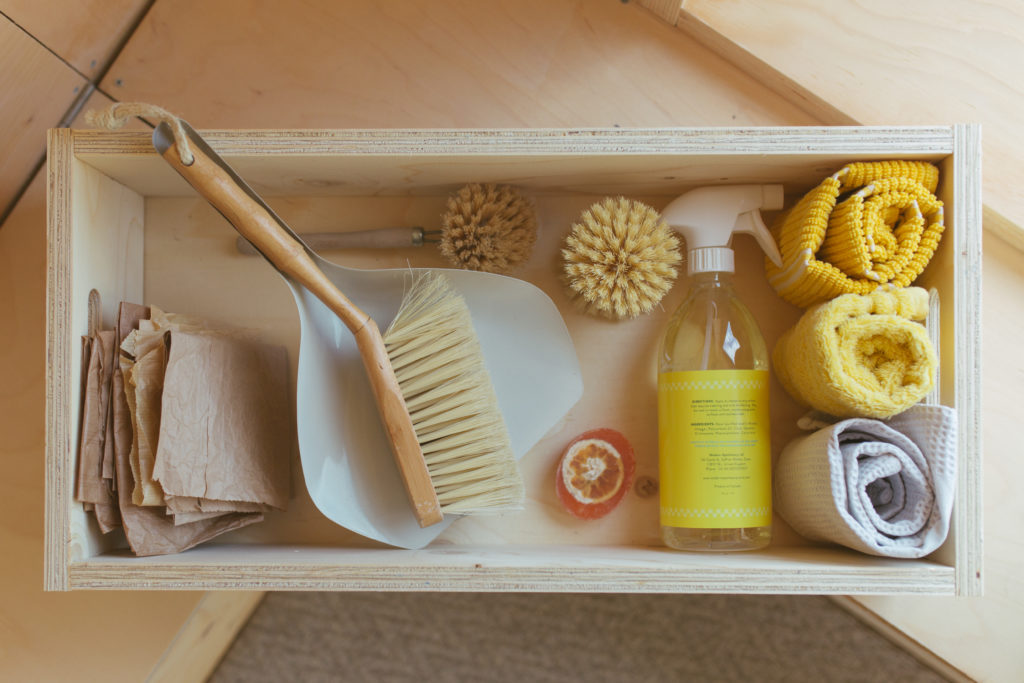 A U-Build box containing cleaning products